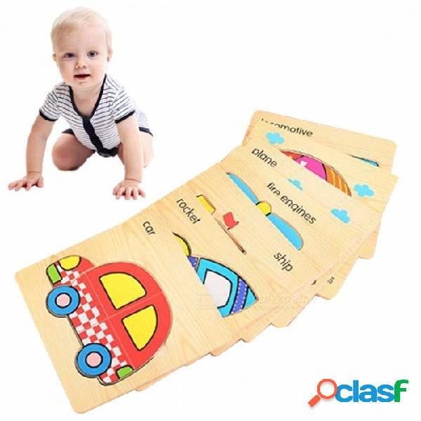 Juguete Rompecabezas De Madera Con Placa De Embrague De Vehículos 3D, Juguete Educativo Para La Primera Infancia Para Niños Con Capacidad Cognitiva (8 PCS) Multicolor