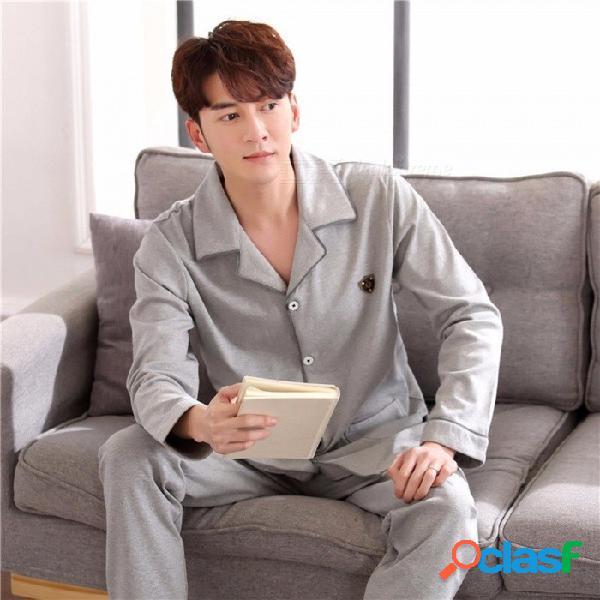 Pijamas suaves para hombres de otoño / primavera, ropa de dormir, manga larga, cuello doblado más tamaño, ropa de dormir, hogar / gris