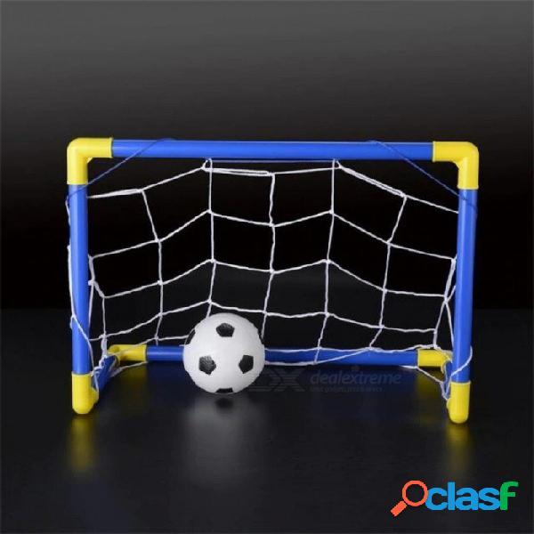 Plegable mini balón de fútbol de fútbol objetivo poste conjunto neto + bomba niños deportes interior juegos al aire libre juguetes niño regalo de cumpleaños de plástico a