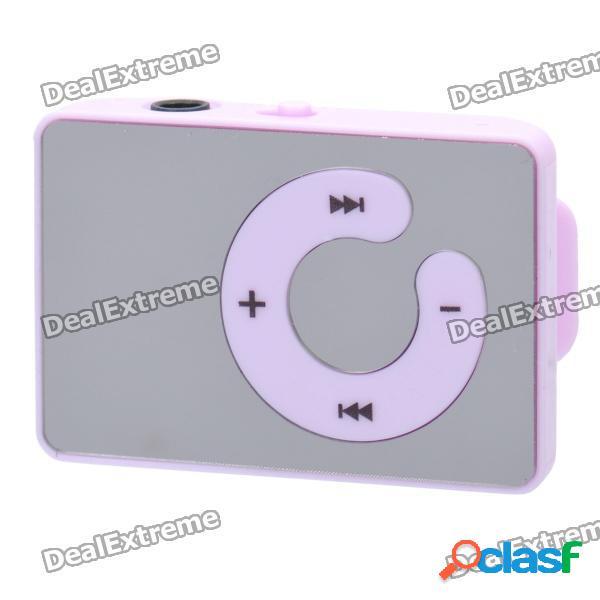 Reproductor de mp3 gratuito recargable con clip en la ranura w / ranura tf / conector de 3.5mm - púrpura