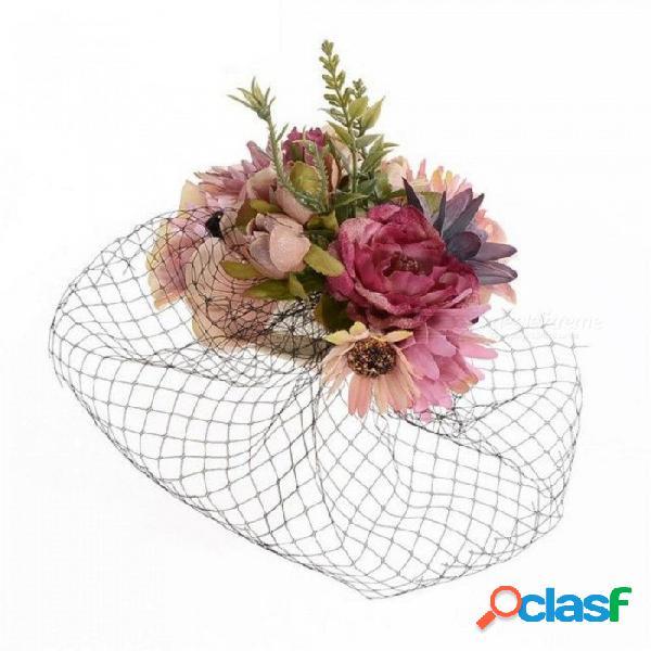 Retro novia sombrero boda banquete sombreros velo tela flor pluma tocado horquilla gasa cubrir la cara a