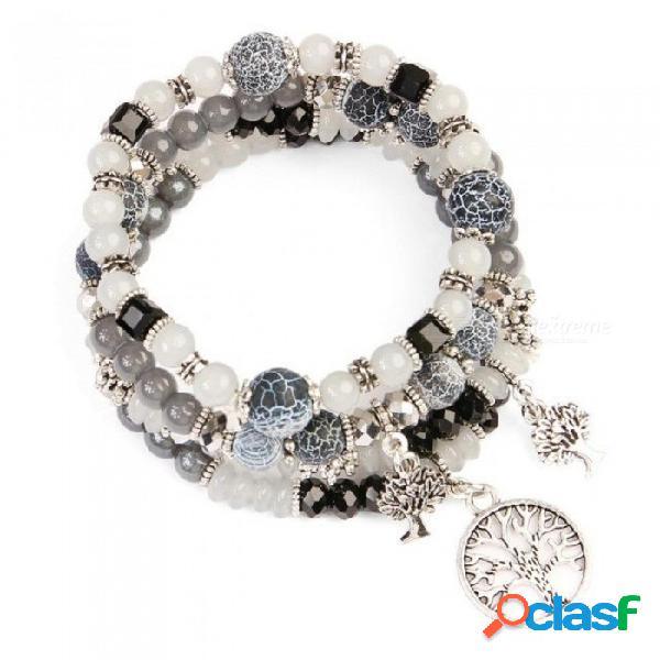 Rosa chunky aleación árbol de la sabiduría colgantes pulseras para las mujeres bohemia cuentas de hebra pulsera de joyería de moda marrón