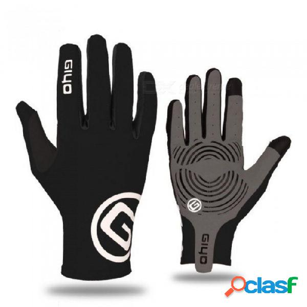 Touch screen long full fingers gel sports cycling gloves women men bicycle gloves mtb road bike riding racing gloves s/black