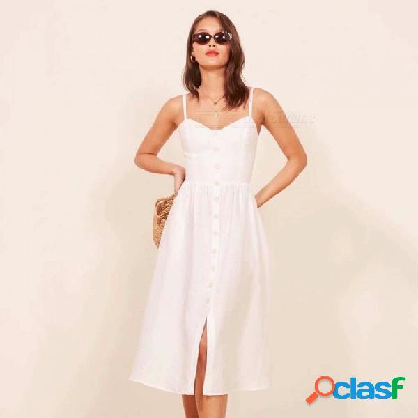 Vestido de verano de algodón y lino vestido de tirantes, de cintura alta frente botón de abertura decorativa de una sola pieza vestido negro / s