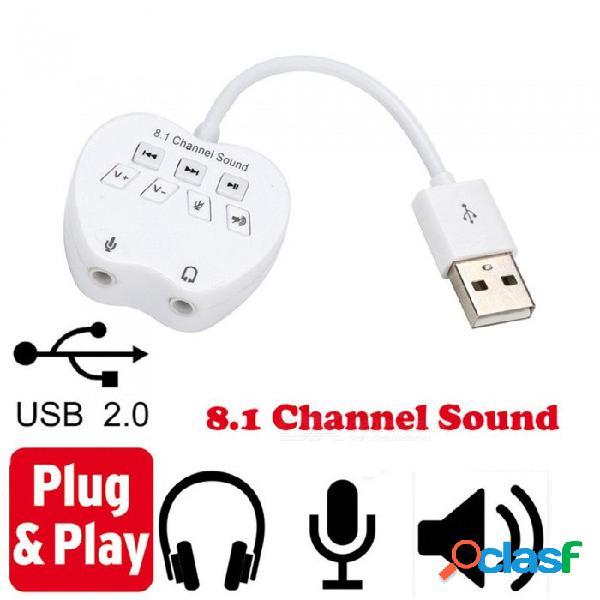 Adaptador de tarjeta de sonido 8.1 canal usb externo adaptador de tarjeta de sonido de audio 3d para pc portátil