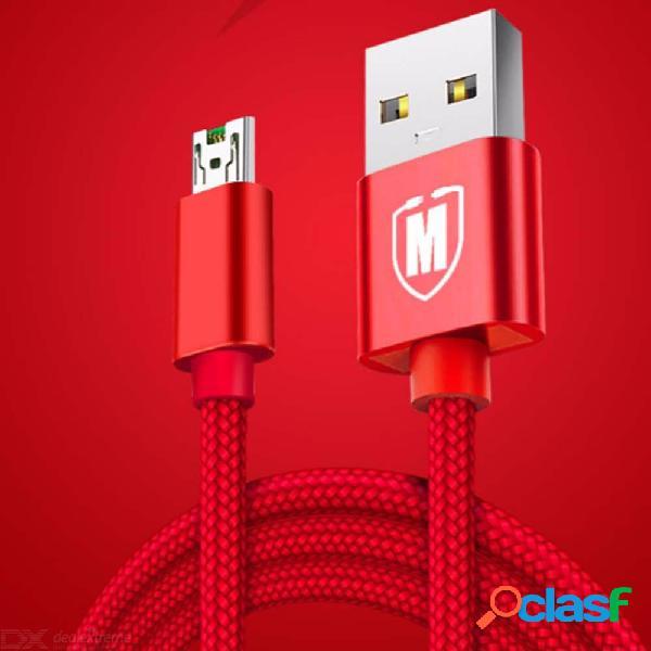 Cable trenzado de nylon del cargador de la cáscara del metal del cable micro usb actual 5a para oppo r11