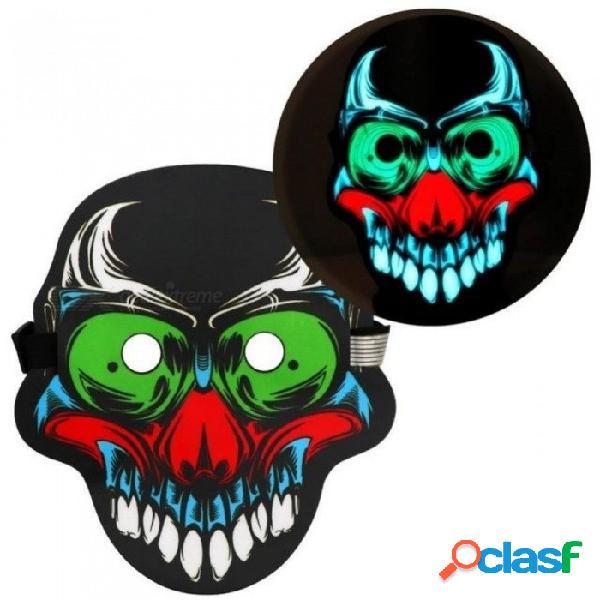 Cara llena de halloween máscara de miedo sonido activado reactivo led enciende máscara 3d cráneo / payaso fiesta de halloween rave máscara b