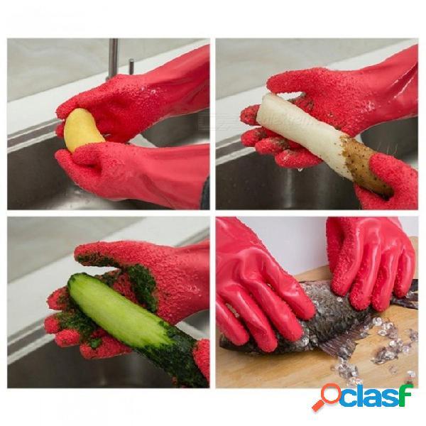 Hogar guante hogar papa pelada limpieza guantes creativo cocina pelar frutas prevenir alergias rojo rojo
