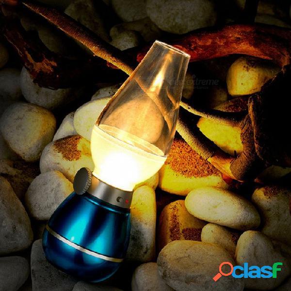 Lámpara de mesa nostálgica portátil de 0.4w con luz de noche regulable de 3 led de queroseno regulable - azul