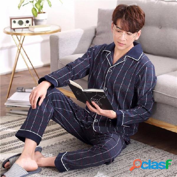 Pijamas de los hombres de primavera otoño a rayas conjunto de ropa de dormir, manga larga cuello de vuelta ropa de dormir ropa de casa marina de guerra