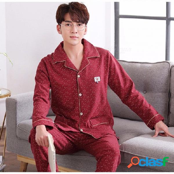 Pijamas de primavera otoño punto hombres pijamas establecen ropa de dormir, cuello vuelto de manga larga más ropa de dormir de tamaño homewear rojo / l