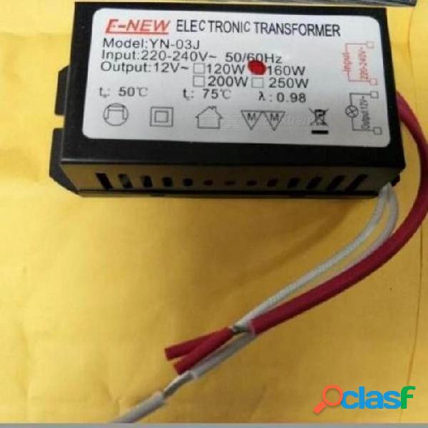 Transformador electrónico 160w g4 220v a 12v para cuentas de luz de cristal de baja tensión, lámpara de halógeno, material de metal a