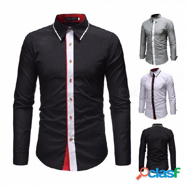 Camisa de manga larga de color de contraste de manga larga para hombre camisa de ajuste casual para hombre negro / m