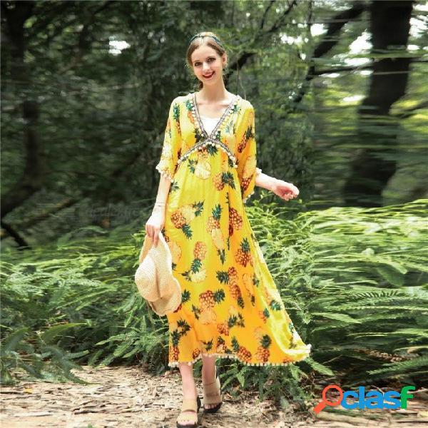 Estampado floral con cuello en v profundo tres cuartos vestido de manga flare para las mujeres flojas ocasionales borla de cintura alta vestido de bola blanco / un tamaño