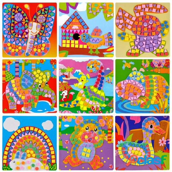 Eva mosaico creativo 3d rompecabezas pegatinas arte manualidades juguetes para niños, juego puzzle animales transporte juguete educativo, chrismas regalo colorido