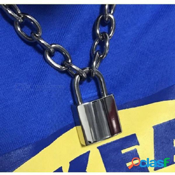 Hecho a mano hombres mujeres unisex collar de cadena resistente cuadrado cerradura candado gargantilla collar de metal plata oro oro