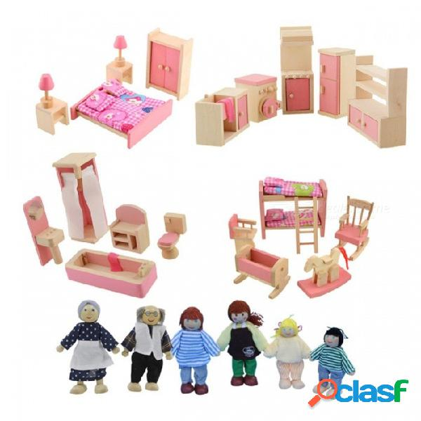 Muebles de madera juguetes para muñecas juego de dormitorio en miniatura casa de muñecas juguete educativo regalo de navidad para niñas niños rosa-2
