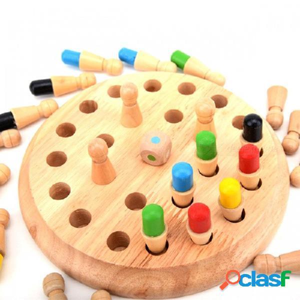 Palo de madera ajedrez juego juguete bloque educativo juguetes niños memoria coinciden madera divertido estudio juguete chrismas regalo para niños multicolor