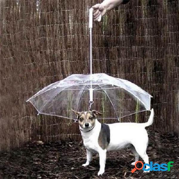 Paraguas para mascotas lindo impermeable, transparente, perrito, perrito para mascotas, para la lluvia al aire libre, senderismo senderismo 27 cm de longitud transparente
