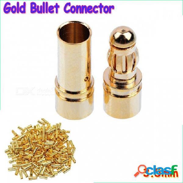 20 unids por lote 3.5mm bañado en oro bala conector conector de alta calidad para esc batería motor (10 pares) de oro