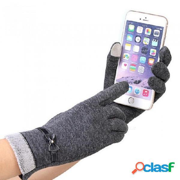 Guantes de mujer de moda otoño invierno lindo arco cálida manopla guantes mitones de dedo completo mujeres mujeres guantes de cachemira de un tamaño / marrón