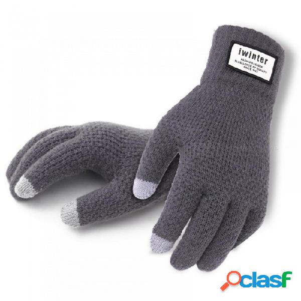 Invierno otoño hombres de punto guantes de pantalla táctil masculino de alta calidad espesar cálida lana de cachemira guantes sólidos hombres manopla