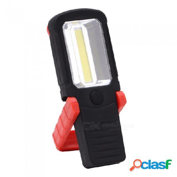 Luz de trabajo led cob 1600 lúmenes linterna led antorcha plegable magnética anzuelo - batería aaa (no incluida) 3w / negro
