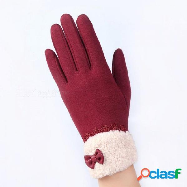 Moda elegante para mujer guantes de pantalla táctil de invierno señoras cordones cálidos de cachemira arco completo dedo guantes