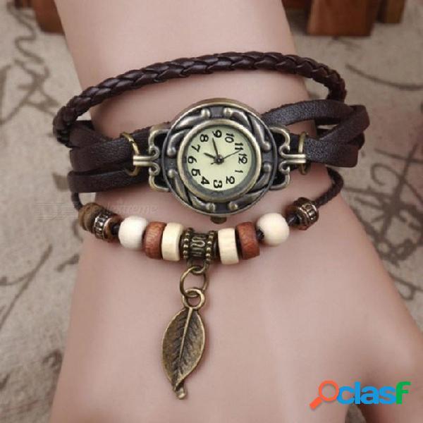 Mujer niña relojes vintage pulsera boho relojes de pulsera para mujer con hoja colgante punk 18 cm de longitud café café