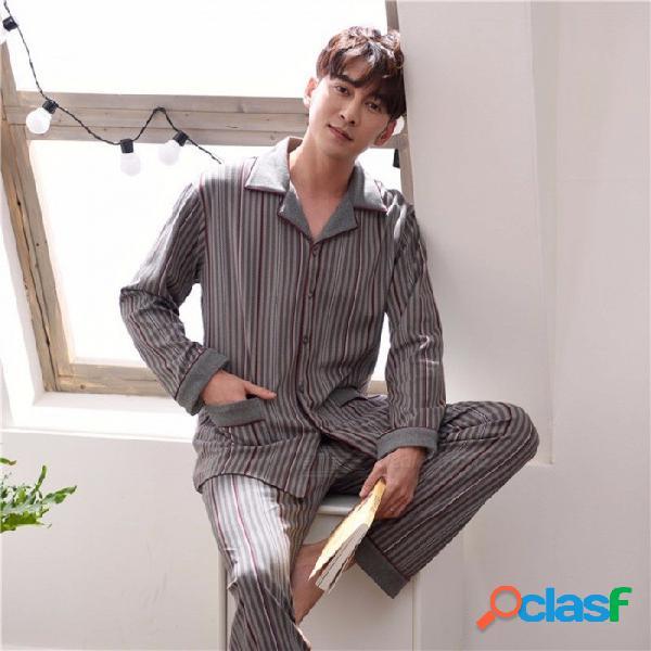 Pijamas de los hombres de primavera otoño a rayas conjunto ropa de dormir, manga larga cuello de vuelta ropa de dormir homewear