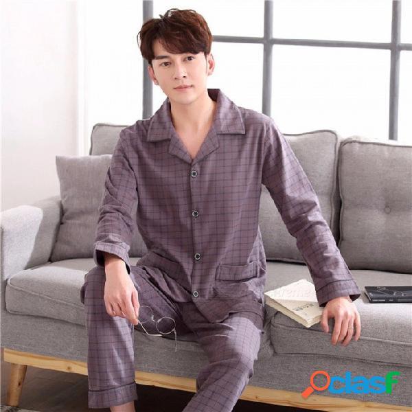 Primavera otoño patrón de celosía pijamas de los hombres conjunto ropa de dormir, manga larga cuello vuelto ropa de dormir ropa de casa marrón / l