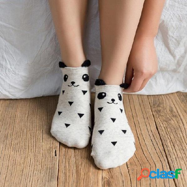 3 pares calcetines lindos mujeres panda de verano calcetines cortos de algodón feliz calcetines tobillo feliz moda femenina sox meias calcetines 3 pares calcetines lindos