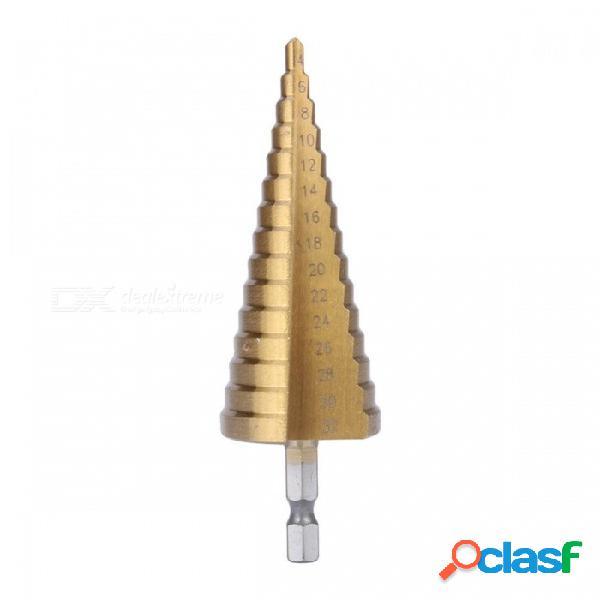 Broca de titanio hexagonal de alta calidad paso cónico taladro taladro 4-32mm hss acero 4241 broca para hoja de metal herramienta oro