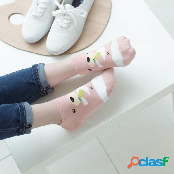 Calcetines de tubo de dibujos animados femeninos algodón corea otoño e invierno calcetines de algodón jacquard calcetines japoneses marca calcetines xl / 5t mezcla de color