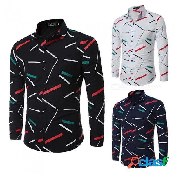 Camisa de manga larga con patrón geométrico para hombre camisa casual camisa de corte slim para hombres negro / m