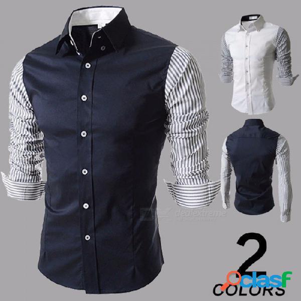 Contraste de moda de color a rayas camisa de manga larga para hombre camisa casual con cuello entallado para hombres blanco / m
