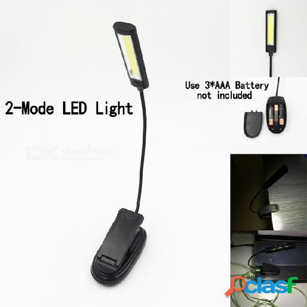 Luz de lectura de luz de trabajo cob led con clip de luz de trabajo lámpara de barbacoa luz portátil portátil blanco / negro