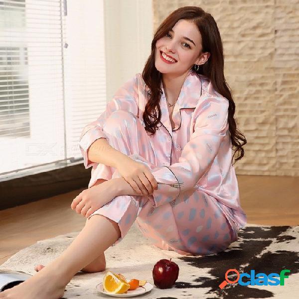 Pijamas de mujer de alta calidad con mangas largas de satén de seda pijamas mujer casual ropa de dormir pijamas traje tz678 rosa / m