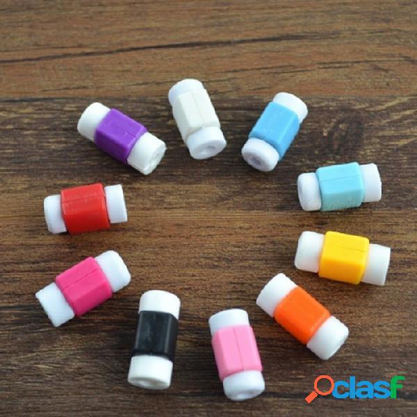 2 pcs bobina clips usb de cables de datos protector para iphone bobina de alambre herramienta de color al azar blanco