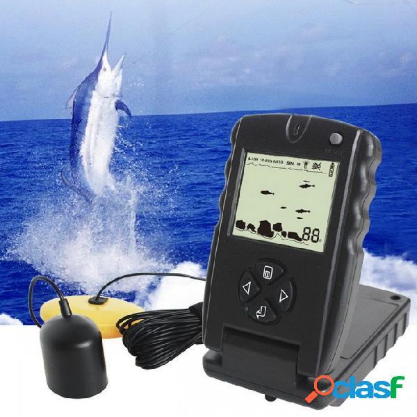 Lucky ff717 buscador portátil de peces de sonar de 100 pies, sonda de pesca ecosonda buscador de pesca - negro