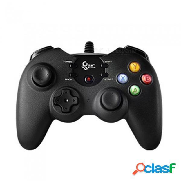 Manija del juego con cable usb, controlador de gamepad del juego, joystick para computadora, tablet pc, tv inteligente, teléfono android, ps3 negro
