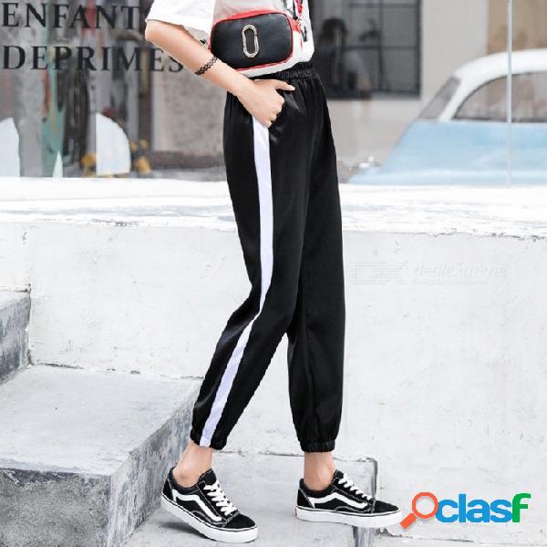 Pantalones deportivos mujer verano hiphop versión coreana suelta de pantalones de chándal de estudiante casual negro / s