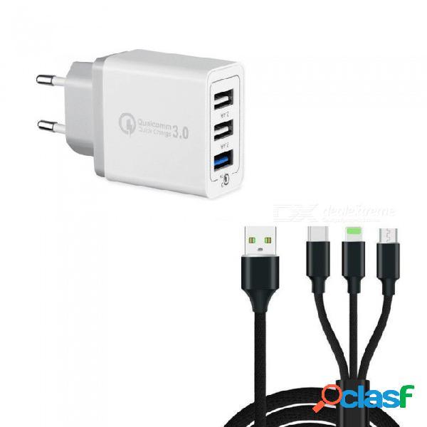 30w 3 puertos de carga rápida y rápida qc 3.0 usb cargador de pared + 3 en 1 tipo-c + 8 pin + cable de carga de datos micro usb