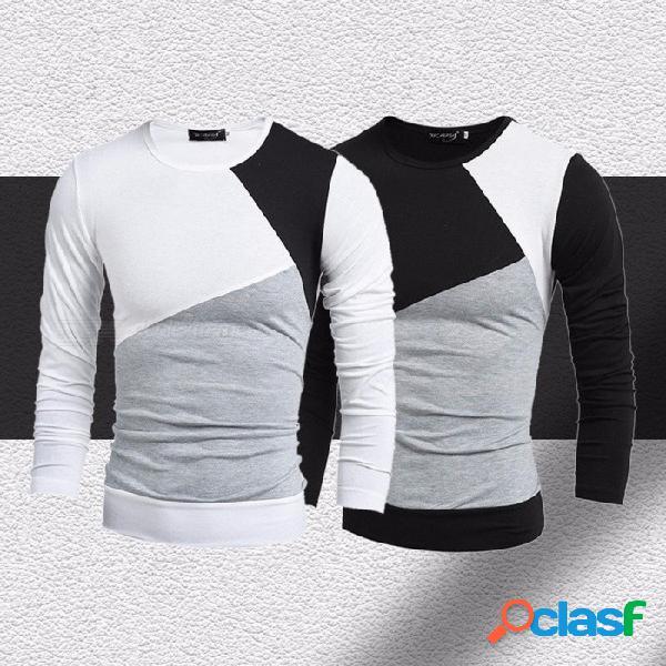 Camiseta casual de los hombres, remiendos tops de costura delgados, diseño fresco del o-cuello de la camiseta fresca de manga larga negro / m