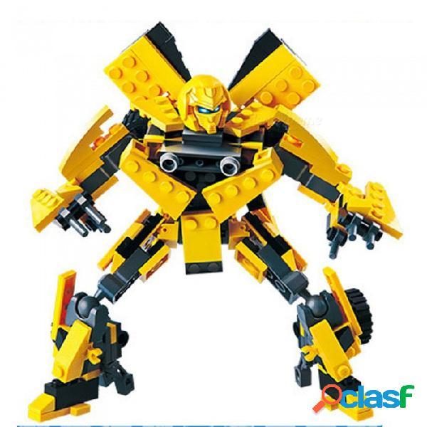 Diy abs plástico transformers bumblebee estilo de juguete de bloques de construcción de juguetes educativos regalo para niños niños