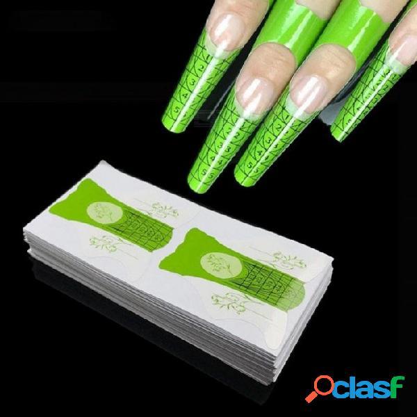 100 unids / lote forma de uñas para acrílico uv punta de gel de uñas guía de extensión francés herramientas de bricolaje formas autoadhesivas pegatinas 100 unids