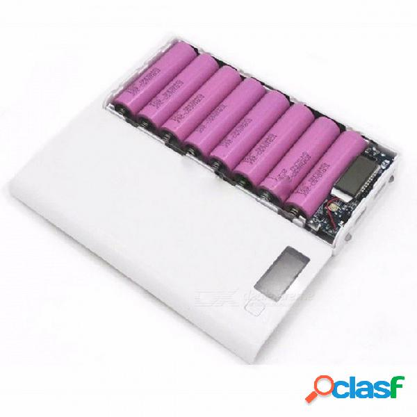 Caja de batería del banco del poder del caso 18650 de diy caja de batería externa del cargador 18650 portátil con pantalla lcd para el teléfono celular verde