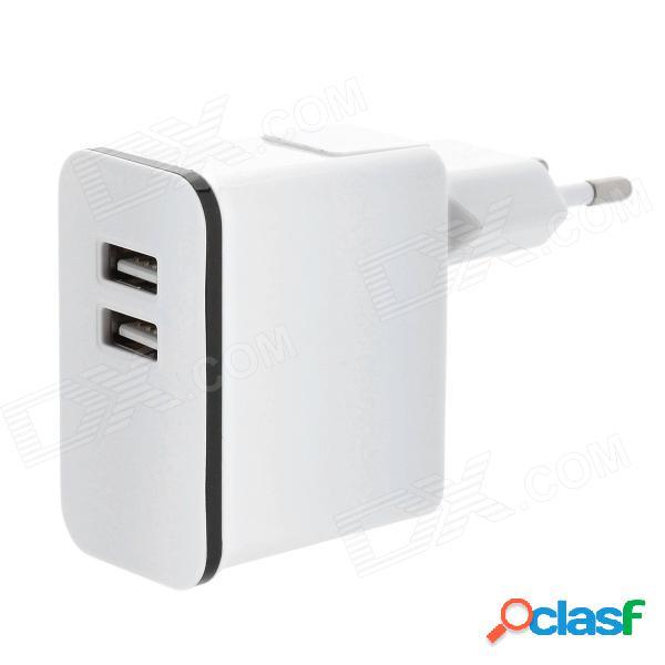 Cargador de adaptador de carga de ca extraíble con doble salida usb para iphone / ipad - blanco (enchufe de la ue)