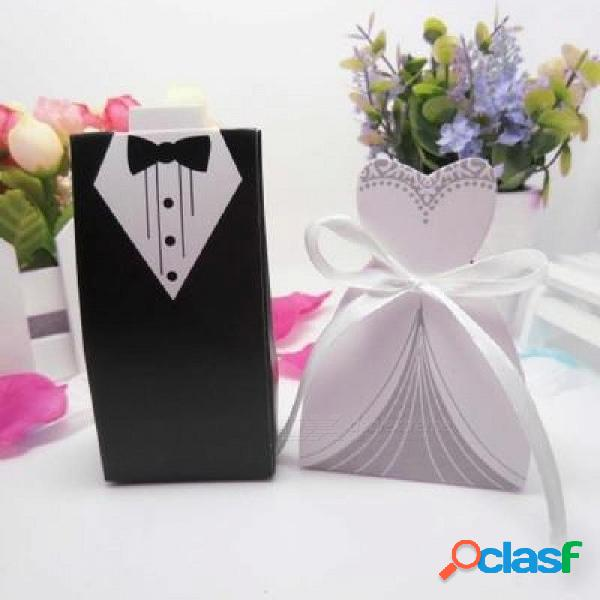 100 unids caja de dulces de la boda del corte del laser mini caja de regalo de kraft regalo de decoración de embalaje de cartón para los invitados tamaño pequeño / zafiro profundo