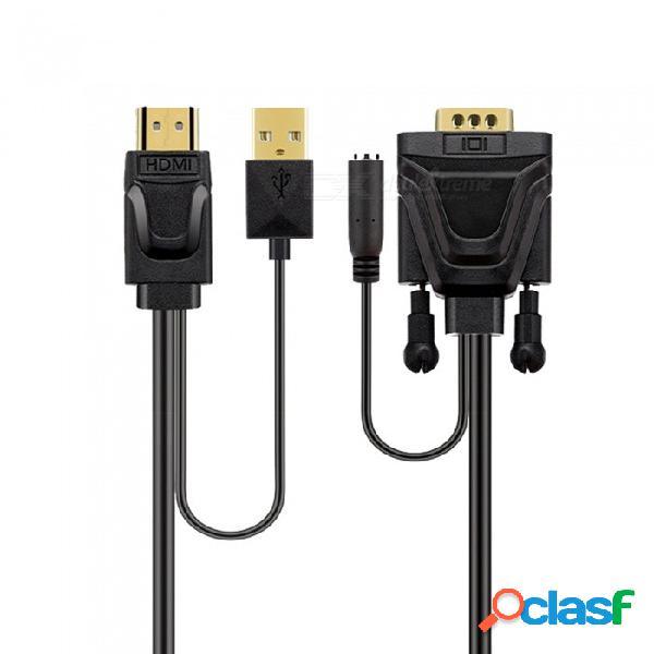 Cable de hdmi a vga con conector de audio cable de alta definición para conectar la línea de conversión de tv